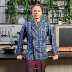 Kuchařský rondon dlouhý rukáv Grosseto kostka Giblor´s - barva modrá