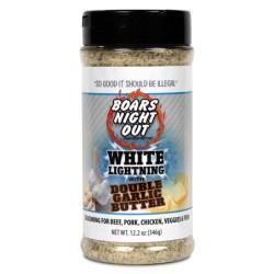 kořenící sůl Boars Night Out WHITE LIGHTNING Double Garlic 411g