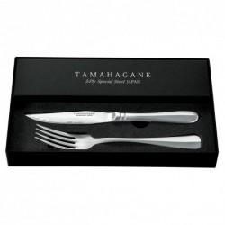příborová steaková sada TAMAHAGANE damascus VG-5 (4 x nůž + 4 x vidlička)