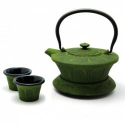 litinová konvička Midori na čaj 800 ml + 2 šálky