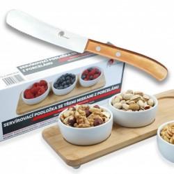 servírovací podložka se třemi miskami z porcelánu + snídaňový nůž