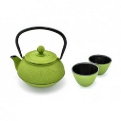 litinová konvička Arare Green na čaj 600 ml + 2 šálky