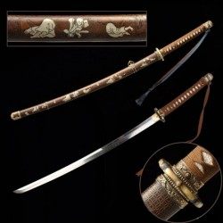 čínský meč GUNTO typ.III, ocel aisi 1095, reálný hamon