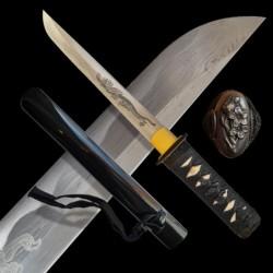 Tanto MIJAGI, čepel z překládané oceli AISI 1045 - leštěná imitace hamonu