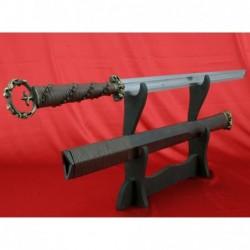 čínská šavle HAN DAO z překládané oceli a dřevěnou pochvou