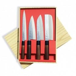 sada nožů Tsuchime - box 4 ks Sekyriu Japan, hnědá rukojeť