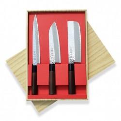 sada nožů Tsuchime - box 3 ks Sekyriu Japan, hnědá rukojeť